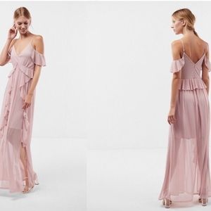 NEW Express Ruffle Cold Shoulder Maxi Dress Light